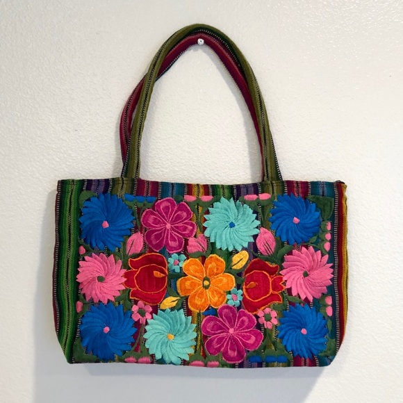 Mexican Bags Handbags - Mexican Handmade Embroidered Shoulder Bag